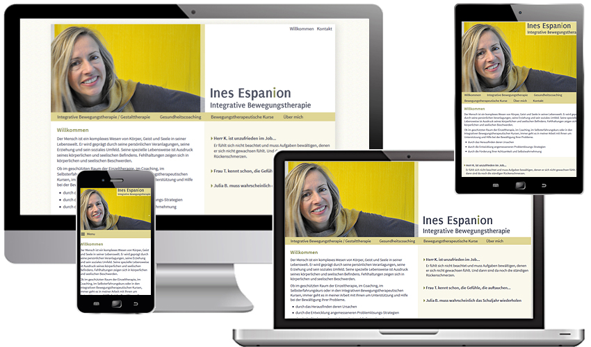 Responsive Internetsite für Ines Espanion, Integrative Bewegungstherapie in Köln