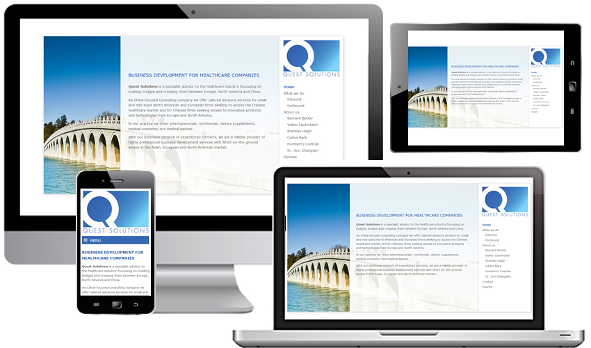 Responsive Webdesign für die Quest Solutions GmbH - Business Development for Health Care Companies