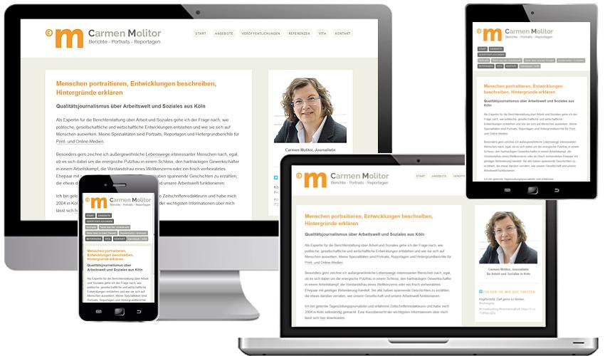 Responsive Webdesign für die Kölner Journalistin Carmen Molitor