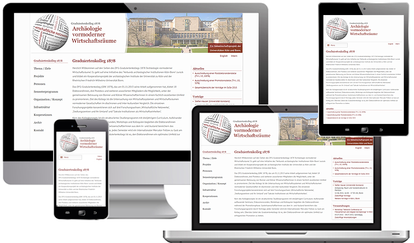 Responsive Webdesign für das Graduiertenkolleg 1878 - Archäologie vormoderner Wirtschaftsräume