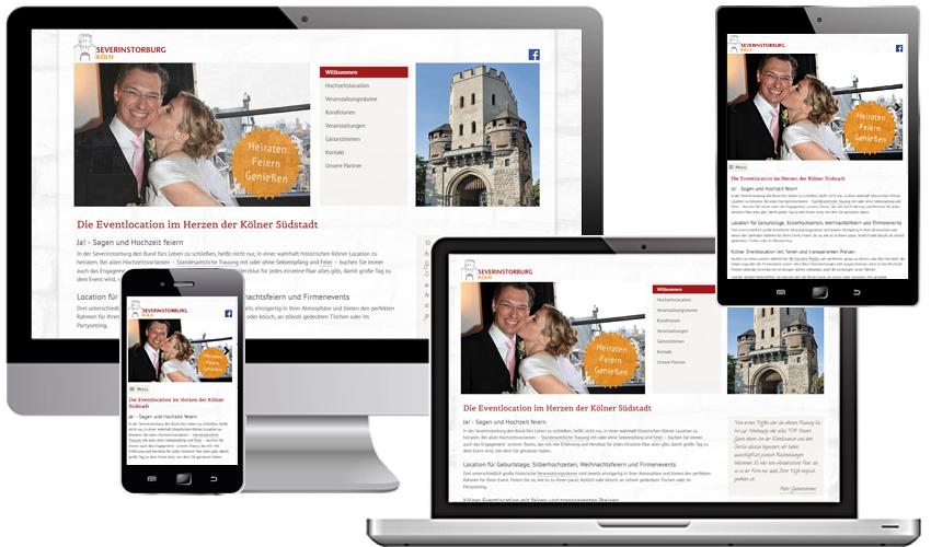 Responsive Internetpräsenz für die Severinstorburg, Event- und Hochzeitslocation in der Kölner Südstadt