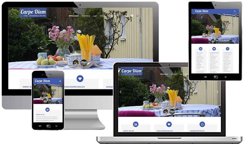 Individuelles Webdesign für Carpe Diem - Ferienhaus am See