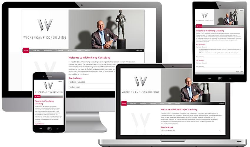Individuelles Webdesign für die Wickenkamp Consulting GmbH
