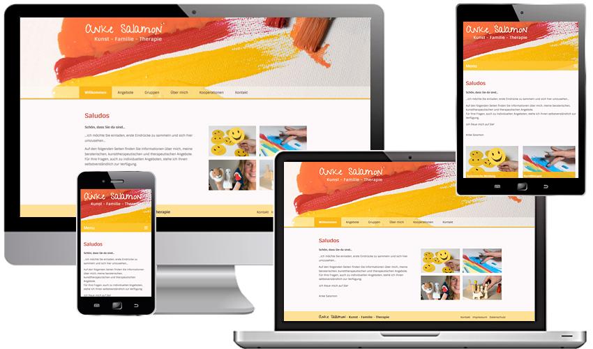 Webdesign für Anke Salamon: Kunst-Familie-Therapie