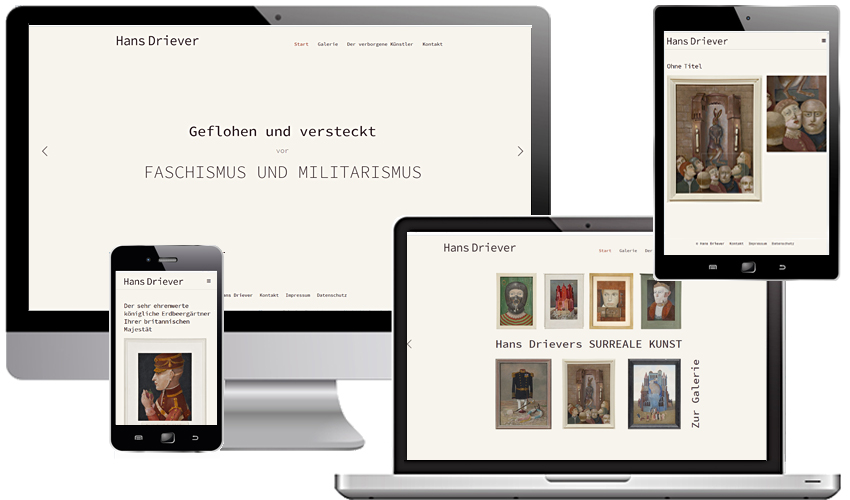 Entwicklung der Website über einen verborgenen Künstler