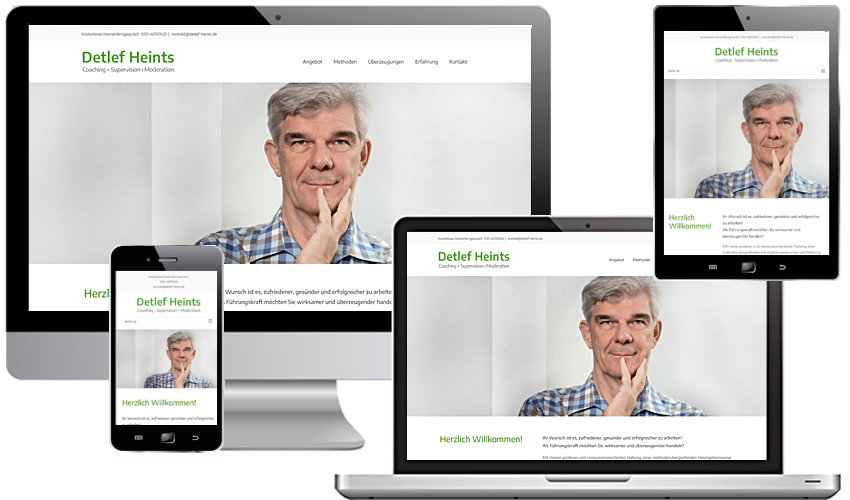 Detlef Heints-Coaching - Supervision-Moderation: Relaunch der Website als OnePager